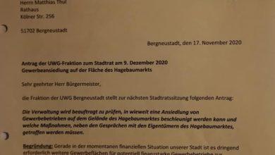 Antrag UWG Bergneustadt - Hagebaumarktfläche - Reaktivierung Extra-Fläche Othestrasse.