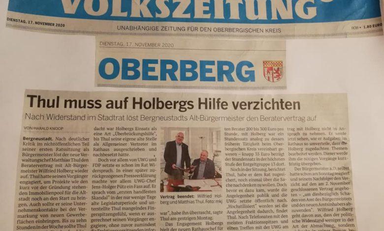 UWG Bergneustadt wirkt: Kein Beratervertrag mit Wilfried Holberg!