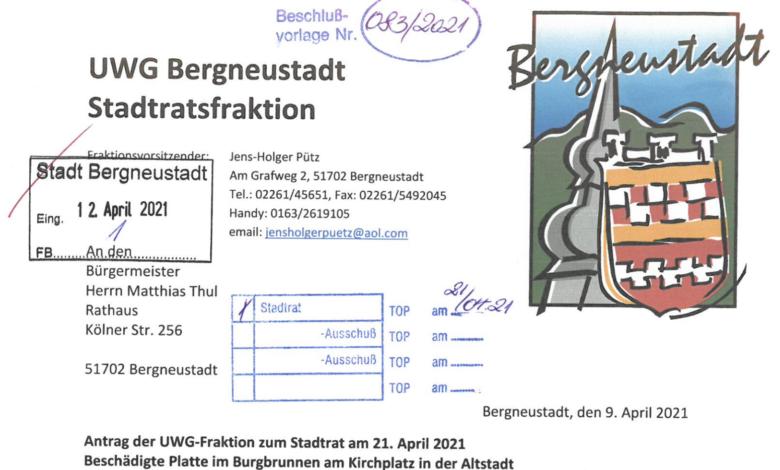 UWG Bergneustadt - Anträge für die Stadtratssitzung am 21.04.2021